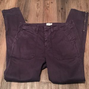 J. Crew stretch chinos with ankle zipper, size 27